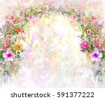 abstract colorful flowers... | Shutterstock . vector #591377222