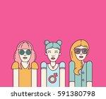 three beautiful women on pink...   Shutterstock .eps vector #591380798