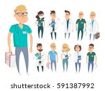 doctor character man and woman... | Shutterstock .eps vector #591387992