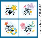 set of cards on the marine... | Shutterstock .eps vector #591390536