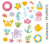set with funny sea animals and... | Shutterstock .eps vector #591390572