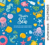under the sea card.... | Shutterstock .eps vector #591390605
