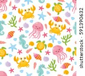 childish nautical seamless... | Shutterstock .eps vector #591390632