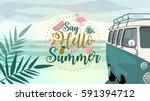 say hello to summer poster ... | Shutterstock .eps vector #591394712