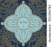 beautiful floral paisley sun... | Shutterstock .eps vector #591396782
