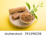 ayurvedic chandan powder or... | Shutterstock . vector #591398258