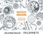 breakfasts and brunches top... | Shutterstock .eps vector #591399875