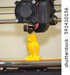 modern 3d printer printing... | Shutterstock . vector #591410156