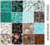 vector seamless pattern flowers ...   Shutterstock .eps vector #591414602