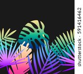 seamless tropical vector... | Shutterstock .eps vector #591416462