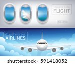 airplane window  the tourist... | Shutterstock .eps vector #591418052