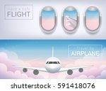 airplane window  the tourist... | Shutterstock .eps vector #591418076