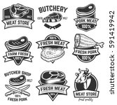 set of meat store labels.... | Shutterstock .eps vector #591419942