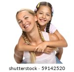 mother holds a daughter on a... | Shutterstock . vector #59142520