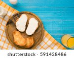 top view of toast bread and... | Shutterstock . vector #591428486