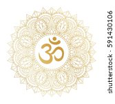 golden aum om ohm symbol in... | Shutterstock .eps vector #591430106