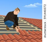 the man on the roof. | Shutterstock .eps vector #591440372