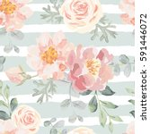 pale pink roses and peonies... | Shutterstock .eps vector #591446072