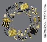 set of stylish women's...   Shutterstock .eps vector #591447896