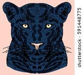 leopard face tattoo  vector... | Shutterstock .eps vector #591448775