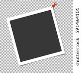 photo frame with red pin on... | Shutterstock .eps vector #591464105