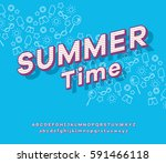 vector font and alphabet with... | Shutterstock .eps vector #591466118