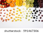 Colorful Fruits In Rainbow...