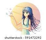 vector illustration of an anime ...   Shutterstock .eps vector #591472292