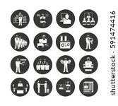 business icon set in circle... | Shutterstock .eps vector #591474416