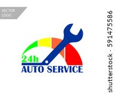 auto service simple logo flat... | Shutterstock .eps vector #591475586
