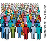 A Big Diverse Crowd Of Colorfu...
