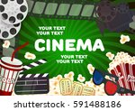 realistic cinema movie poster... | Shutterstock .eps vector #591488186