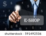business man pointing hand on... | Shutterstock . vector #591492536