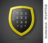 shield with electronic... | Shutterstock .eps vector #591497018