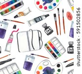 seamless pattern with art... | Shutterstock . vector #591502856