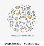 healthy lifestyle illustration  ... | Shutterstock .eps vector #591503462