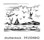 sketch seascape with yachts... | Shutterstock . vector #591504842