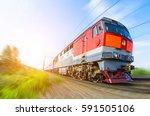 passenger diesel train... | Shutterstock . vector #591505106