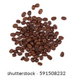 pile coffee beans isolated on... | Shutterstock . vector #591508232