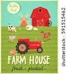 farm house market  poster.... | Shutterstock .eps vector #591515462