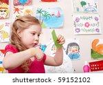Child With Scissors Cut Paper...