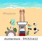 freelance concept. summer... | Shutterstock .eps vector #591521612
