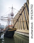 The replica of the famous Golden Hind Galleon Ship which is currently moored in London. - stock photo