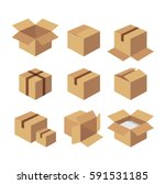 carton recycle brown box icons. ...