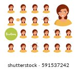 woman with different emotions.... | Shutterstock .eps vector #591537242