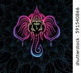 hindu lord ganesha over mandala ... | Shutterstock .eps vector #591540866