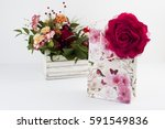 gift rose bag on white... | Shutterstock . vector #591549836