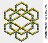 big hexagonal construction with ... | Shutterstock .eps vector #591552296