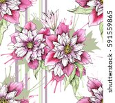 seamless pattern with floral... | Shutterstock . vector #591559865