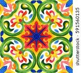 portuguese azulejo tiles. green ... | Shutterstock . vector #591560135